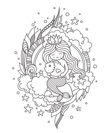 Little queen mermaid, sitting on a stone, hugging little fish. Outline illustration.  イラスト・ベクター素材