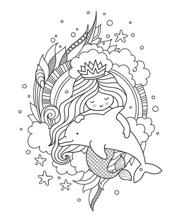 Princess mermaid, hugging cute little dolphin, surrounded by clouds. Vector illustration. Page for coloring book, print, card.