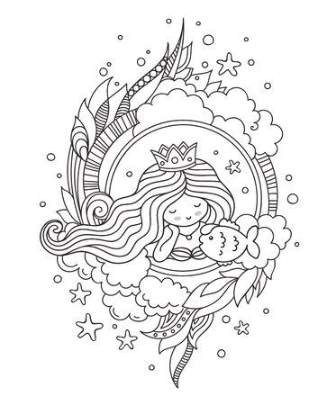 Portrait of little queen mermaid with fish. Page for coloring book, greeting card, print, t-shirt, poster. Hand-drawn vector illustration. 스톡 콘텐츠 - 127863607