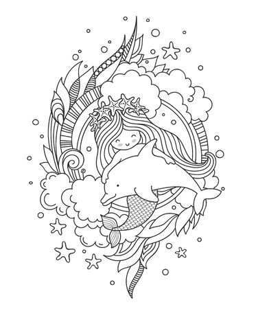 Stylized round composition with mermaid, hugging dolphin. Page for coloring book, greeting card, print, t-shirt, poster. Hand-drawn outline vector illustration.