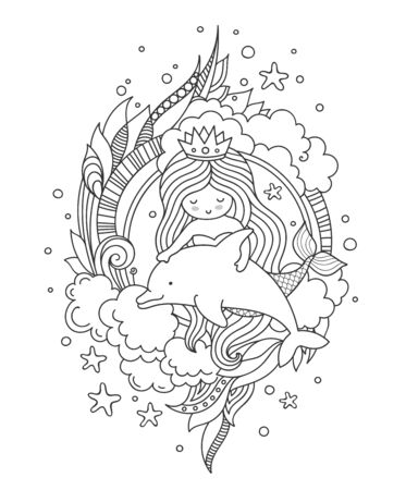 Mermaid and dolphin, surrounded by clouds and seaweed. Outline vector illustration for coloring book.  イラスト・ベクター素材