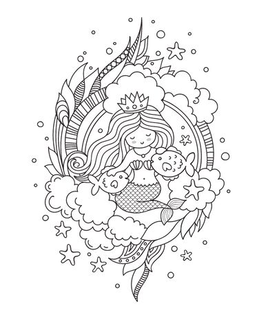 Stylized round composition with mermaid, sitting on the seabed with two little fish. Page for coloring book, greeting card, print, t-shirt, poster. Hand-drawn outline vector illustration. Stock Illustratie