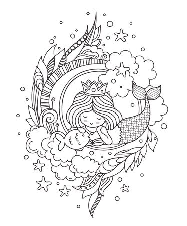 Stylized round composition with dreamy lying mermaid. Page for coloring book, greeting card, print, t-shirt, poster. Hand-drawn vector illustration.