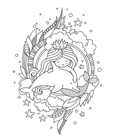 Cute little princess mermaid with dolphin, surrounded by seaweed and clouds. Vector outline illustration for coloring book.  イラスト・ベクター素材