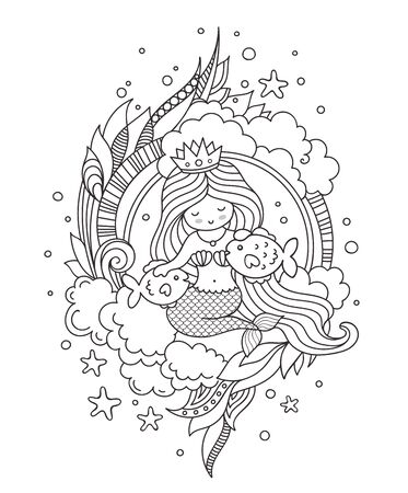 Mermaid with beautiful long hair and two little fish. Illustration for coloring book, print, card, t-shirt, poster.