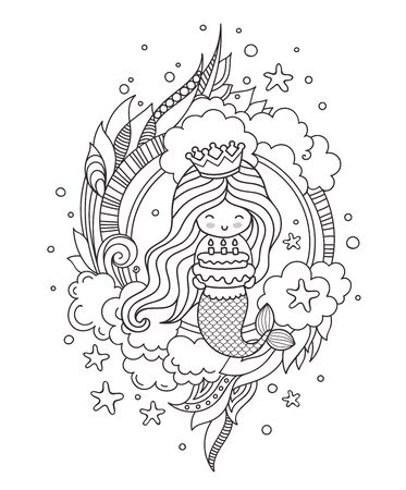 Portrait of mermaid with birthday cake. Cute little girl. Page for coloring book, greeting card, print, t-shirt, poster. Hand-drawn vector outline illustration. Illustration