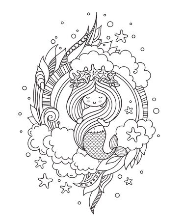 Little mermaid with wreath of starfish, surrounded by clouds. Page for coloring book, greeting card, print, t-shirt, poster. Hand-drawn vector illustration.