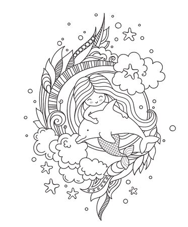 Stylized round composition with mermaid, floating with dolphin. Page for coloring book, greeting card, print, t-shirt, poster. Hand-drawn outline vector illustration.