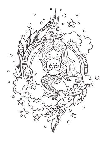 Stilisierte runde Komposition mit süßer kleiner Meerjungfrau, die auf einem Felsen sitzt. Seite für Malbuch, Grußkarte, Druck, T-Shirt, Poster. Handgezeichnete Vektor-Illustration.