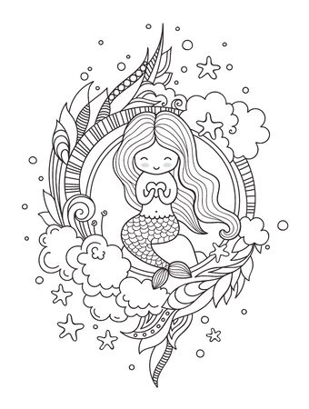 Stylized round composition with cute little mermaid, sitting on a rock. Page for coloring book, greeting card, print, t-shirt, poster. Hand-drawn vector illustration.