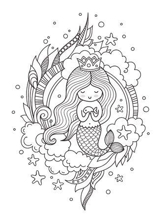 Kleine Meerjungfrau der Königin mit Fisch. Seite für Malbuch, Grußkarte, Druck, T-Shirt, Poster. Handgezeichnete Vektorillustration.