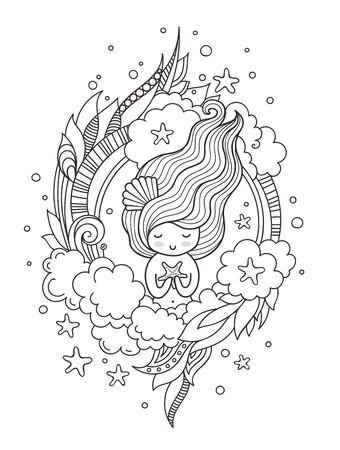 Porträt der Meerjungfrau mit Seestern. Süßes kleines Mädchen. Seite für Malbuch, Grußkarte, Druck, T-Shirt, Poster. Handgezeichnete Vektorillustration.