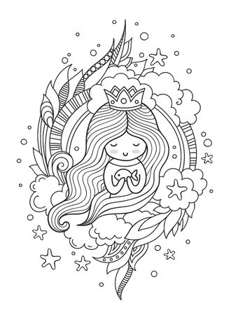 Portrait of a cute princess. Mermaid with fish. Page for coloring book, greeting card, print, t-shirt, poster. Hand-drawn vector illustration.  イラスト・ベクター素材