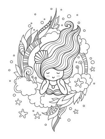 Stilisierte runde Komposition mit süßem verträumtem Mädchen. Seite für Malbuch, Grußkarte, Druck, T-Shirt, Poster. Handgezeichnete Vektor-Illustration.