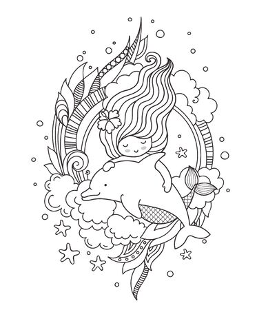 Mermaid swimming among seaweed and clouds, with dolphin. Page for adult coloring book. Vector outline illustration.  イラスト・ベクター素材