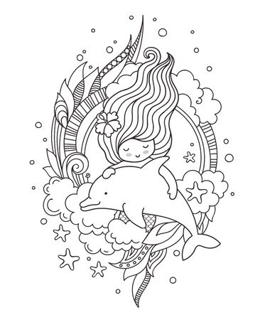 Portrait of beautiful mermaid with flower in her hair, floating with dolphin. Vector outline illustration for coloring book.