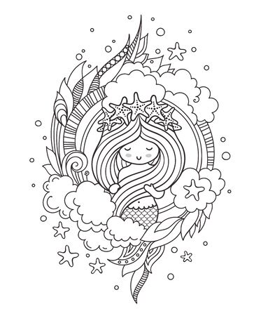 Little mermaid with wreath of starfish, surrounded by clouds. Page for coloring book, greeting card, print, t-shirt, poster. Hand-drawn vector illustration. 스톡 콘텐츠 - 127863780