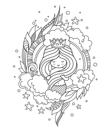 Portrait of princess mermaid, holding her long beautiful hair. Siren. Outline graphic illustration for coloring book.  イラスト・ベクター素材
