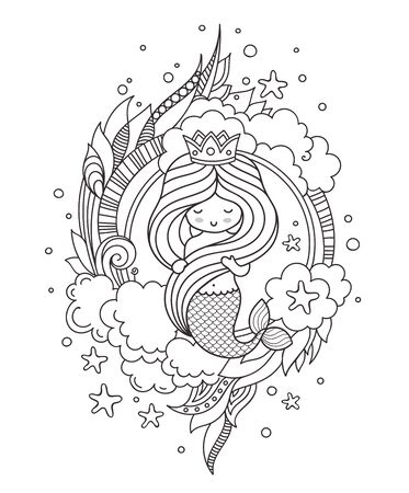 Coloring book page for adults. Little beautiful mermaid, holding her long hair. Vector outline illustration.