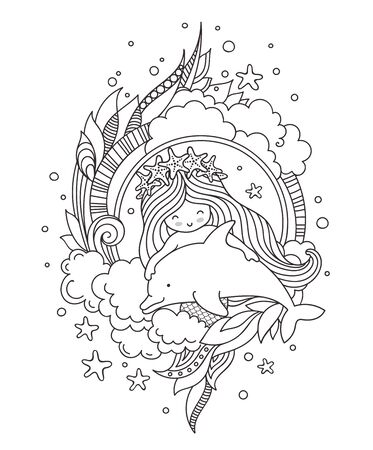 Little mermaid in a wreath of starfish, with cute dolphin, surrounded by clouds, seaweed. Page for coloring book, greeting card, print, t-shirt, poster. Hand-drawn outline illustration.