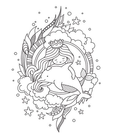 Little queen mermaid with dolphin. Page for coloring book, greeting card, print, t-shirt, poster. Hand-drawn outline vector illustration. 写真素材 - 127863904