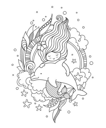 Little mermaid with beautiful hair, floating with dolphin. Page for coloring book, greeting card, print, t-shirt, poster. Hand-drawn outline vector illustration.
