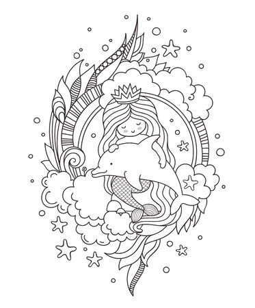 Stylized round composition with mermaid, sitting on a rock, holding fish. Page for coloring book, greeting card, print, t-shirt, poster. Hand-drawn outline vector illustration.