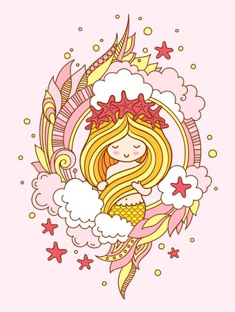 Mermaid with golden hair, in a wreath of starfish. Vector illustration for poster, print, invitation, banner, postcard, card.