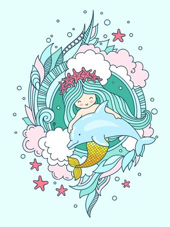 Mermaid in a wreath of starfish, with dolphin. Vector book illustration, t-shirt, print, poster, postcard. Stock Illustratie