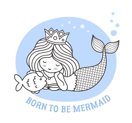 Lying dreamy princess mermaid with fish. Born to be mermaid. Vector illustration.