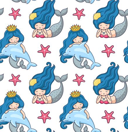 Mermaids, dolphins, starfish. Seamless pattern. Under the sea. Print design for textile, fabric, postcard, posters, decor, greeting card. Vector illustration.  イラスト・ベクター素材