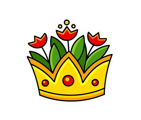 Golden crown with red tulips. Vase. Cartoon vector illustration.