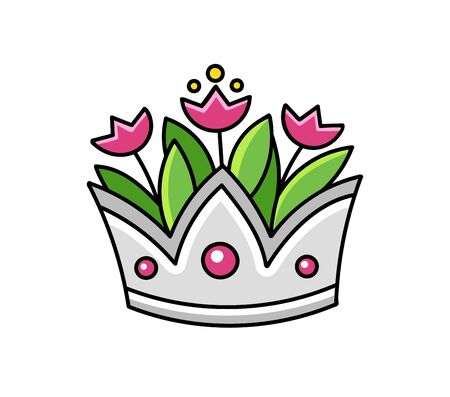 Silver crown with tulips. Vase. Cartoon vector illustration.
