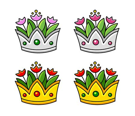 Set of silver and golden crowns with tulips. Vase with flowers. Cartoon vector illustration.