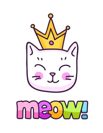 Kawaii white kitten in a golden crown. Cute cartoon character. Meow inscription. Vector illustration.