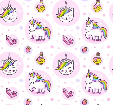 Cats, unicorns and magic crystals. Cute seamless pattern for wallpaper, textile, fabric, print, bed linen. Vector illustration.  イラスト・ベクター素材