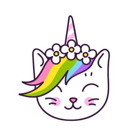 Cute white kitten unicorn with horn and rainbow mane, in a flower wreath, isolated on a white bacground. Vector cartoon character.  イラスト・ベクター素材