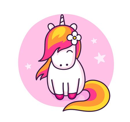 Cute unicorn vector illustration for kids fashion artworks, children books, greeting cards.