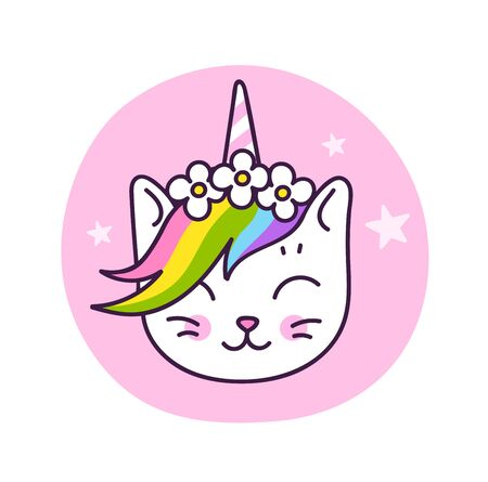 Cute white kitten unicorn with horn and rainbow mane, in a flower wreath. Vector cartoon character. 写真素材 - 128322720