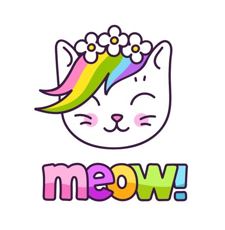 Adorable white kitten with rainbow mane, in a flower wreath. Vector cartoon character.  イラスト・ベクター素材