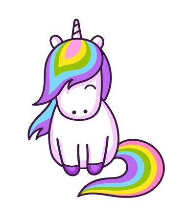 Kawaii rainbow unicorn. Cute cartoon character. Vector illustration.  イラスト・ベクター素材