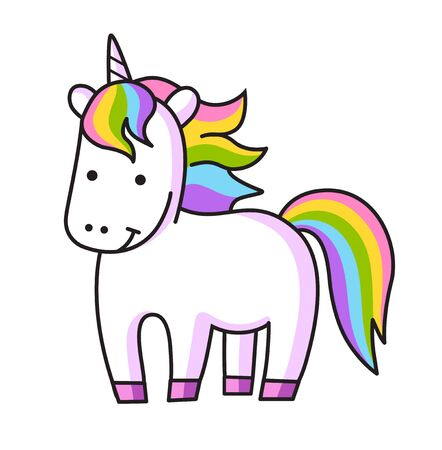 Kawaii cartoon unicorn with rainbow mane. Vector simple illustration.