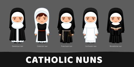 Catholic nuns. Carthusians, Franciscans, Cistercians, Benedictines and Dominicans. Set of cartoon characters. Vector flat illustration