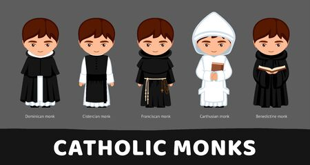 Catholic monks. Carthusians, Franciscans, Cistercians, Benedictines and Dominicans. Set of cartoon characters. Vector flat illustration.