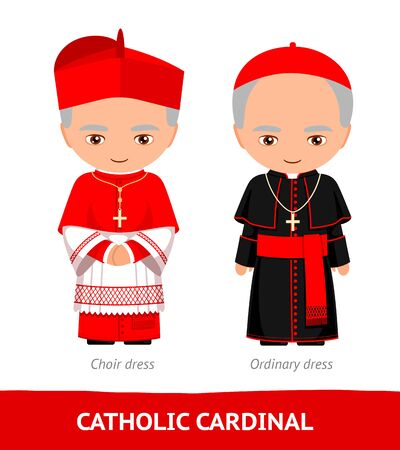 Catholic cardinal. Choir and ordinary dresses. Cartoon male character. Vector flat illustration.