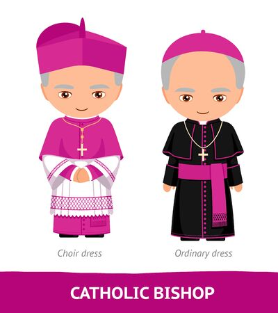 Catholic bishop. Choir and ordinary dresses. Cartoon male character. Vector flat illustration.