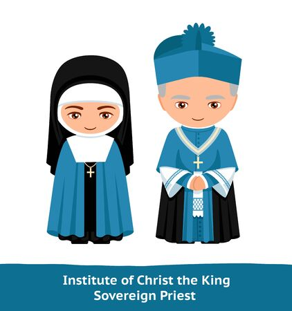 Institute of Christ the King Sovereign Priest. Cartoon character. Man and woman. Vector flat illustration.