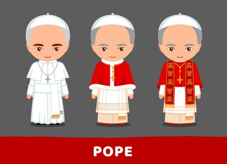 Pope. Ordinary and choir dresses. Vatican. Catholicism. Set of cartoon characters. Vector flat illustration. 일러스트