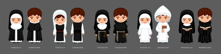 Catholic monks and nuns. Carthusians, Franciscans, Cistercians, Benedictines, Dominicans. Big set of cartoon characters. Vector flat illustration.