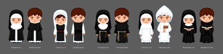 moines et moniales catholiques. Chartreux, Franciscains, Cisterciens, Bénédictins, Dominicains. Grand ensemble de personnages de dessins animés. Plate illustration vectorielle.